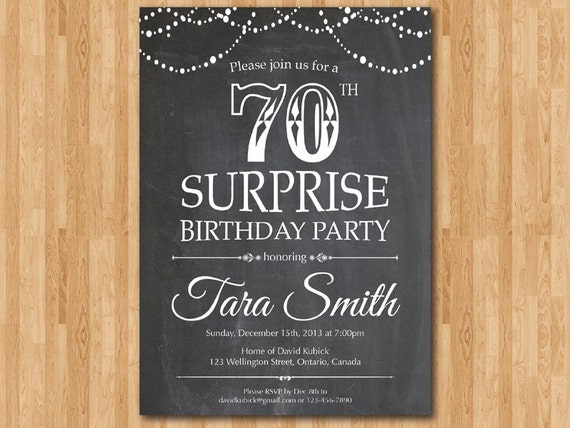 Surprise 70th birthday invitation Chalkboard Surprise