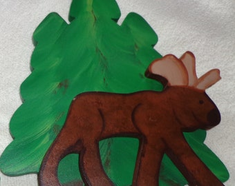 Wooden Moose/Tree Curtain Holder Tieback
