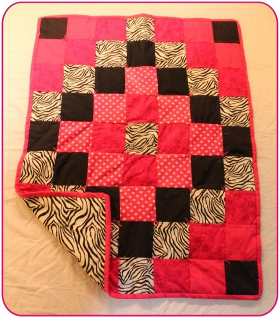 Hot pink and Zebra print Baby Quilt by Sewbeitbraun on Etsy