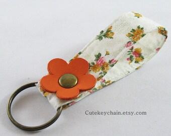 MINI Fabric Keychain, Fabric Wristlet Key Fob, Fabric Keyring, Keychain Wristlet With Orange Leather Flower
