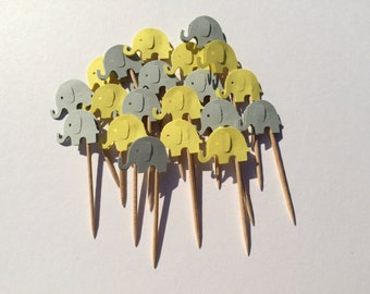 10 cardboard elephant cake toppers, perfect for baby showers and first birthday parties!