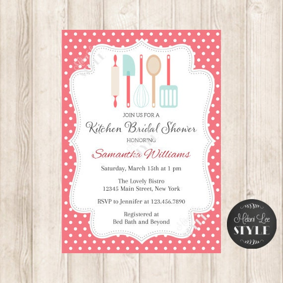 Items similar to kitchen bridal shower invitation kitchen for Utensilios de mesa