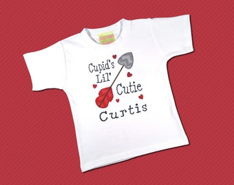 Boys Valentine Shirt 'Cupid's Lil Cutie' with Embroidered Name