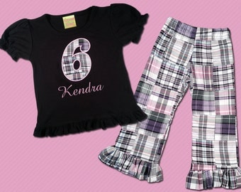 Girl's Birthday Shirt with Madras Plaid Ruffle Pants - M20