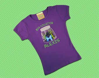 Girls Purple Bug in a Jar Shirt with Embroidered Name