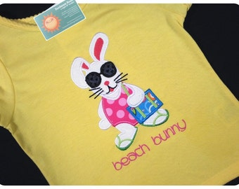 Girl Summer Shirt with Beach Bunny and Embroidered Name