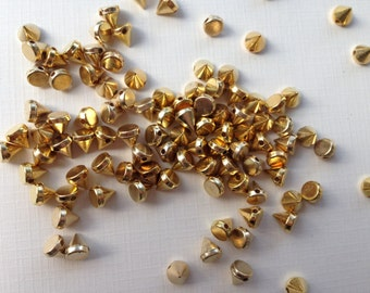 100 Pc 5 X 6 mm Spike Gold Cone For Clothes Or Jewelry DIY Sewing