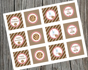 INSTANT DOWNLOAD. Printable Cookies & Milk Cupcake toppers. Milk and Cookies Birthday Party Cupcake Toppers.