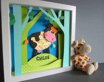 Personalised Baby Kids Children's picture - Cow 3D Framed Handmade Paper Artwork