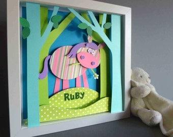 Personalised Baby Kids Children's picture - Pony 3D Framed Handmade Paper Artwork