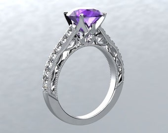 14kt White Gold Ring 6.5mm Round Amethyst Center and Genuine Diamonds Engagement Ring Wedding Ring Birthstone Ring Victorian Love Inspired