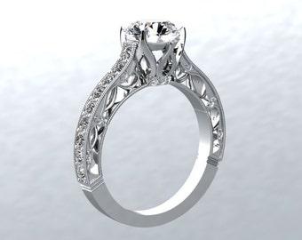 Moissanite Engagement Ring Round 1.0ct Forever one Moissanite Ring .50ct Natural Diamonds White Gold Wedding Pristine Custom Rings