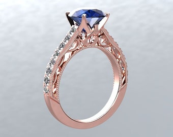 18k Rose Gold 6.5mm Round Sapphires and White Sapphire Side Stones Engagement Ring Wedding Ring Victorian Love Inspired