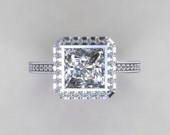 Engagement Ring Princess Cut Moissanite 6mm 14kt White Gold Forever Brilliant Halo Bezel Setting FSI1 Diamonds Engagement Ring Wedding Ring