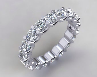 DIAMOND ETERNITY BAND U Design 18k White Gold 3ct Diamond Simulates Wedding Band Engagement Ring Wedding Band Anniversary Band Ring