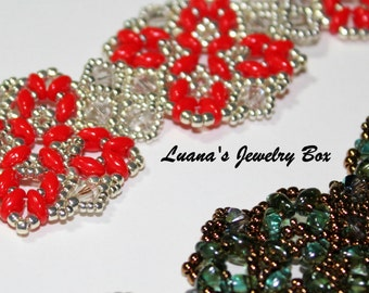 "Beading tutorial for ""Chain of hearts"" bracelet with Superduos and crystals"