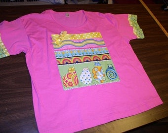 Ladies Hot Pink XL T-Shirt  by Anvil with  Multi Color Weeble Wobble Cats Appliqué by Emanuel's Wearable Art