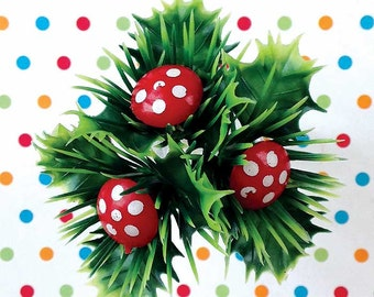 12 Mushroom Cupcake Cake Toppers Decorations Woodland Christmas Gnome Forest Buche de Noel Craft Supply