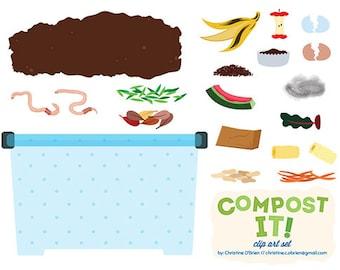 Compost It! Compost Bin Clip Art Set