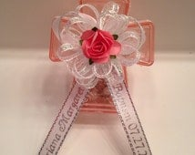 Rosary Favors - 12 Personalized Mini Rosaries w/Pink Keepsake Box Baptism/Communion, Recuerdos Bautizo