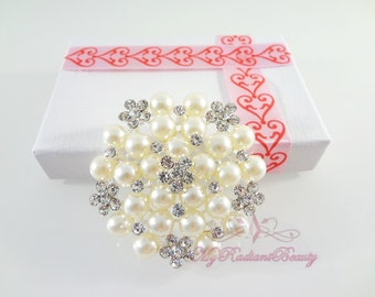Bridal Brooch, Silver Plated Ivory Pearl Clear Rhinestone Crystal Flat Brooch , Wedding Brooch, Bridal Brooches  BR0020
