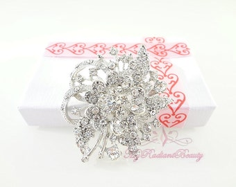 Wedding Brooch, Bridal Rhinestone Crystal Flower Brooch Pin, Bridal Brooch, Wedding Brooch, Bridal Rhinestone Brooch BR0002
