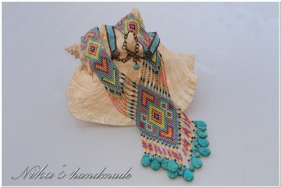 Ethnic woven beaded necklace Gerdan with turquoise and national Ukrainian pattern in traditional Ukrainian colors, MADE TO ORDER