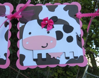 "Girl Cow - ""Happy Birthday"" Banner - Pink and Cow Print"
