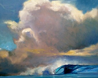 "Gallery Wrapped Cloud Wave in Blue Painting, 15""x15"" Ready to Hang Giclee On Canvas Of Original Oil Painting"