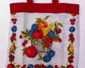 Mid-Century Vintage Linen Upcycled Tote with Colorful Fruit Basket Design