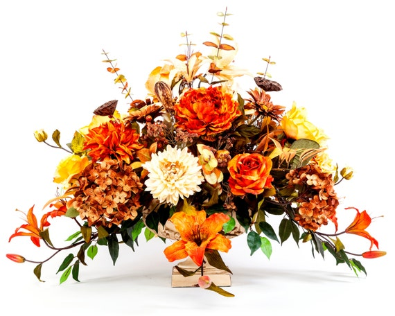 Large fall centerpiece in pedestal sale by rusticelegancelv