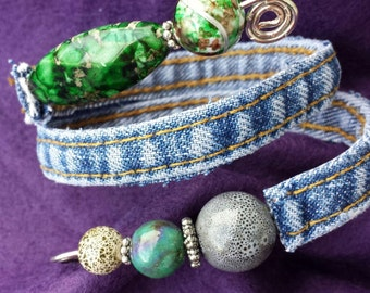 Unique Upcycled One of a Kind Recycled Denim Wire Wrap Green and Grey Beaded Adjustable Bracelet