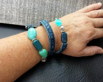Upcycled one of a kind recycled denim and turquoise bead wrap bracelet