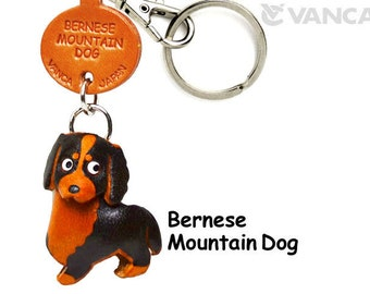 Bernese Mountain Dog 3D Leather Dog Keychain Keyring Purse Charm Zipper pull Accessory *VANCA* Made in Japan #56706   Free Shipping
