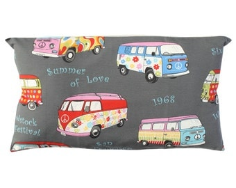 Van Volkswagen, Hippie pillow cover, throw pillow, cushion cover, grey cushion cover, sofa cushion, decorative pillow, vw van hippy, caravan