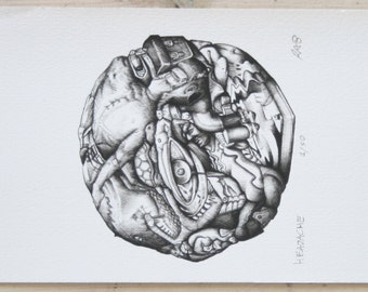 "Original Signed Limited Edition Print. Composite Surreal Drawing. Black and White. on A5 ""HEADACHE"""