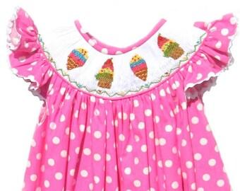 Hand Smocked Pink Polka Dot Ice Cream Cone Dress