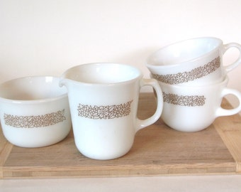 Pyrex Corning Woodland Brown 2 Mugs and Cream and Sugar Set - Set of 4