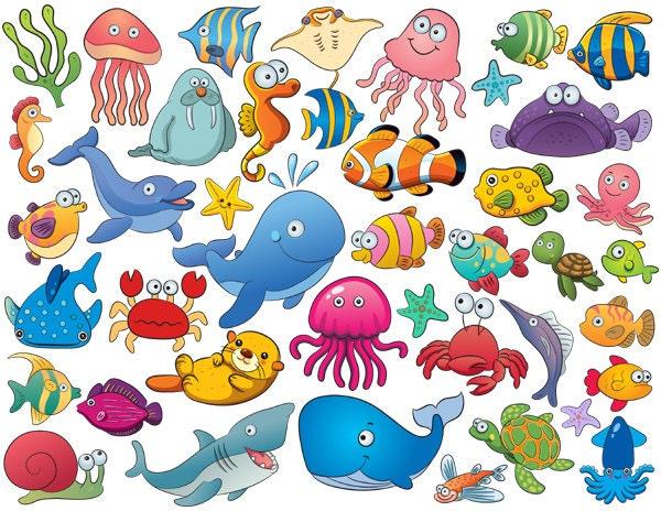 Instant Download 42 Cute Sea Animal Clip Art by OneStopDigital