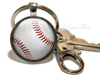 Baseball Keychain, Baseball Key Chain, Baseball Key Ring, Baseball Key Fob, Sports Keychain, Keychain with Clip, Key Fob with Clasp