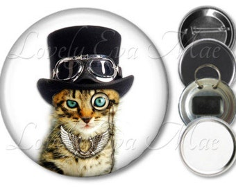 Steampunk Cat Pocket Mirror, Cat Mirror, Compact Mirror Refrigerator Magnet, Bottle Opener Key Ring, Pin Back Button, Cat Keychain, Cat Gift