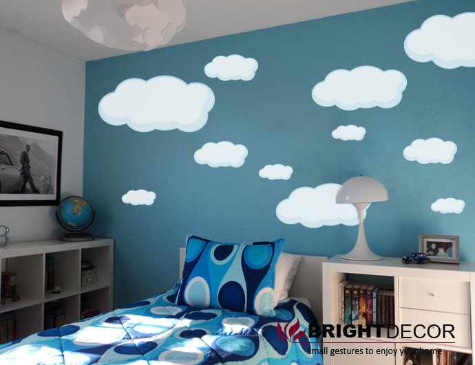 wolken aufkleber f r w nde wolken vinyl aufkleber wand. Black Bedroom Furniture Sets. Home Design Ideas