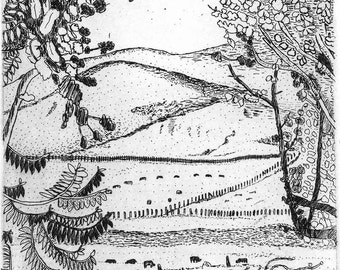 View from Valley Ford - Original Etching & Engraving,  Hand-printed, Limited Edition