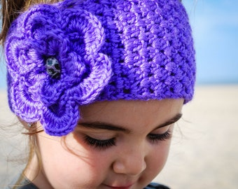 Children's Crochet Headband with Removable Flower Pin in Neon Colors