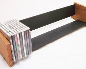 Oak Slate Design Long CD Rack - Modern Contemporary Style