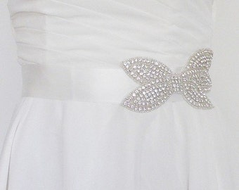 Bridal sash Bow, wedding sash belt Bow
