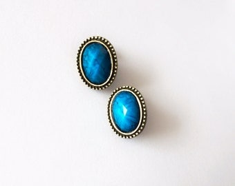 CLEARANCE - Antique Brass Oval Turquoise Earrings - Turquoise earrings - Vintage earrings - Brass earrings - Antique Brass