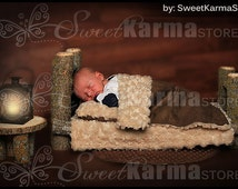 Real Wood Newborn Baby Infant / Doll Log Bed Photo Photography Prop with Matching Table