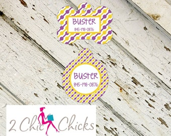 Personalized Pet Tag - Bone or Round Shape - Purple and Yellow, Monogram Pet Tag, Cat Tag, Dog Tag, Aluminum light weight, Made in USA