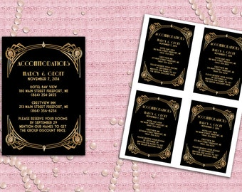 Great Gatsby Art Deco Accommodation Card Wedding Registered At Card - Printable DIY